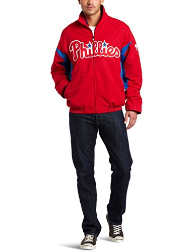 - Majestic MLB Philadelphia Phillies Long Sleeve Lightweight Full Zip Thermabase Premier Jacket, Red/Blue, Small