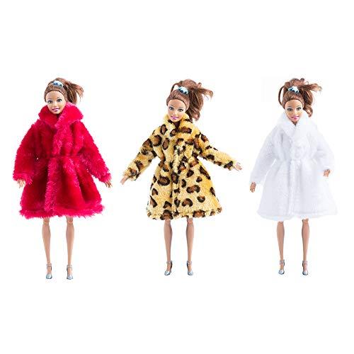 [해외]MM 퍼 겨울 따뜻한 코트 플란넬 의상 인형 액세서리 바비 인형 크리스마스 선물 / MM Fur Winter Warm Coat Flannel Outfit Doll Accessories Suitable for Doll Xmas Gift(Red+White+Yellow Leopard Print)