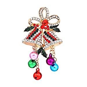 CEALXHENY Christmas Brooch Pins Set Crystal Christmas Tree Snowflake Reindeer Jingle Bell Brooches Holiday Party Gift for Women Girls (B Bell)