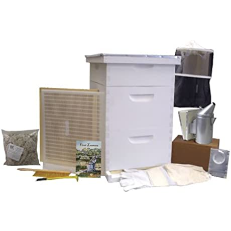 Bee Hive Gold Standard Bee Hive Starter Kit Fully Assembled Wood With Beekeeping Supplies