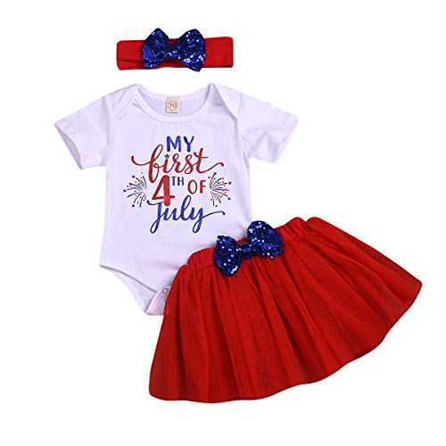 My First 4th of July Outfit Baby Girl Letters Romper Tutu Dress with Headband Bodysuit Set (Red, 12-18 -