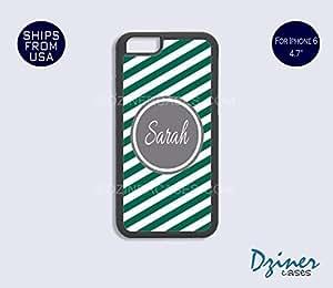 Monogrammed iPhone 6 Plus Case - Green Zebra Stripes Grey Circle iPhone Cover