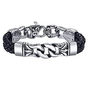 COOLMAN Bracelet en Cuir Tressé en Acier Inoxydable Noir Bracelet Croisé 23 cm pour Hommes Femmes