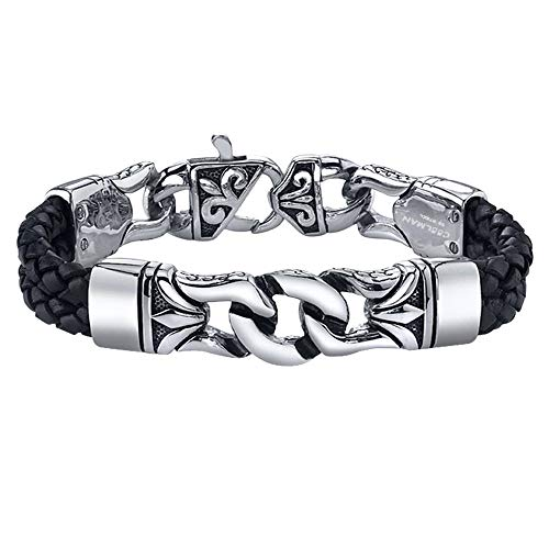 COOLMAN Men's Bracelet Stainless Steel with Braided Leather Wristband Black 8.8 Inch