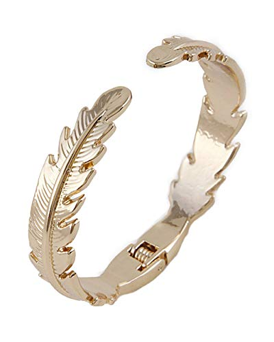 Sidecca Retro Gold Tropical Leaf Thin Cuff Hinge Bangle (Gold Leaf)]()