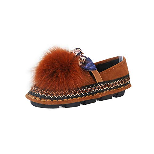 Womens Hiking Brown Fringed Casual Walking SDC05527 Leather AdeeSu Shoes pfqgdtxqw