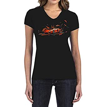 IngraveIT Black Cotton V Neck T-Shirt For Women