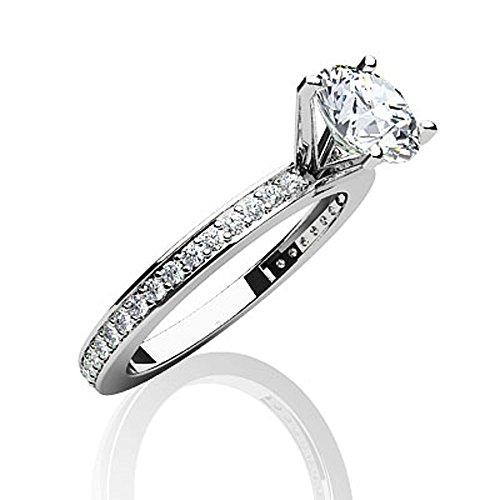 14K Or blanc diamant canal Band Bague de fiançailles