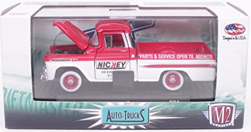 M2 MACHINES 1:64 SCALE AUTO-TRUCKS SERIES RED/WHITE NICKEY PARTS AND SERVICE 1959 CHEVROLET APACHE DIE-CAST