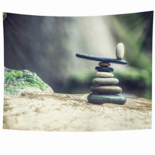 Ahawoso Tapestry 90x60 Inch Lefkada Green Stone Balanced Rock Zen Stack Front Waterfall Nature Balance Parks Pebble Peace Pile Design Stacked Wall Hanging Home Decor for Living Room Bedroom Dorm