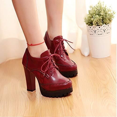 und Flachen Herbst Absatz Schuhe Heels Flache Superhoher HCBYJ der Winter der Frauen Flachen Schuhe High beiläufige Beschuht Frauen 7qWnRPAzU