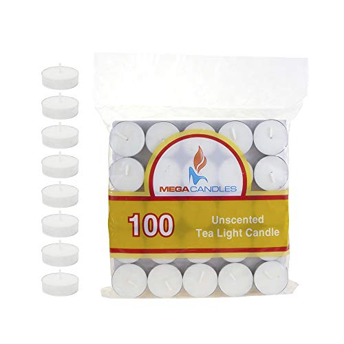 Mega Candles 100 pcs Unscented White Tea Lights Candle | Pressed Wax Candles 3.5 Hour Burn Time | for Home Décor, Wedding Receptions, Baby Showers, Birthdays, Celebrations, Party Favors & More Baby Shower Tealight Candle Favors