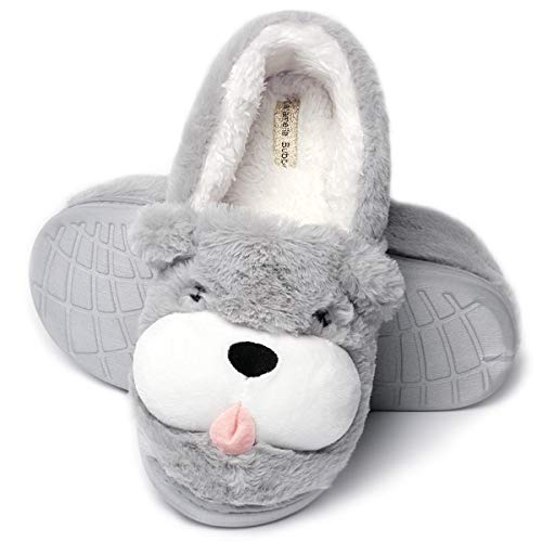 Cute Dog Animal Slippers| Women Warm Slippers Low |Cute Women House Shoes (7-8.5, Grey Dog)