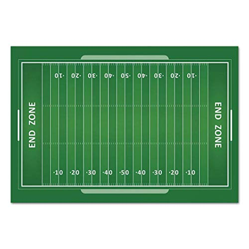 Funky Wall Mural Sticker [ Football,Field of the Game Strategy Tactics End Zone Touchdown Sports Competition Theme,Green White ] Self-adhesive Vinyl Wallpaper / Removable Modern Decorating Wall Art -