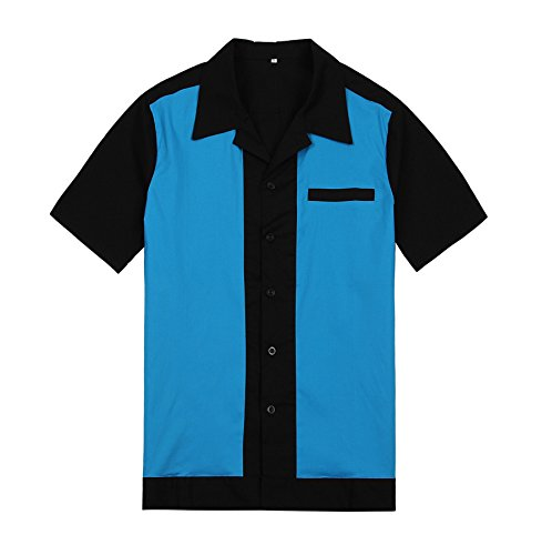 Hop Bowling Shirt - Mens Rockabilly Vintage Outdoor Party Shirt Hip Hop Cowboy Style Large