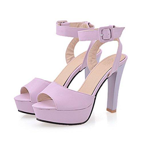 AgooLar Women's Peep Toe High-Heels Soft Material Solid Metal Sandals Purple 7pyqv4u