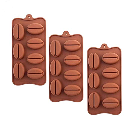 3 Pack X Coffee Bean Shape Ice Cube Chocolate Fondant Soap Tray Mold Silicone Party Maker (SHIPS FROM USA) ()