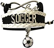 Infinity Collection Soccer Gifts, Soccer Bracelet, Soccer Jewelry, Adjustable Soccer Charm Bracelet- Perfect S