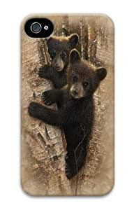 iPhone 4s Case and Cover -Curious Cubs Bear PC Hard Plastic Case for iPhone 4/4S 3D