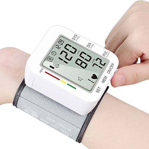 Wrist Blood Pressure Monitor Accurate 180 Reading Memory Adjustable & Portable BP Wrist Cuff with LCD Display, Storage Case and Voice Broadcast for Home Use