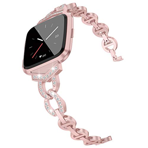 Wearlizer Compatible Fitbit Versa Bands for Women Dressy Accessories Silver Small Large Fitbit Versa Band Strap Bracelet Bangle for Fitbit Versa Smartwatch (Rose Gold)