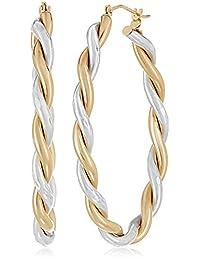 14k Yellow Gold-Bonded Sterling Silver Twisted Hoop Earrings