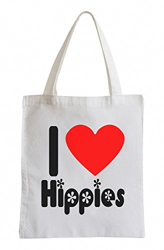 I love Hippies bunt Fun Jutebeutel