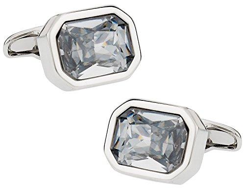 Shimmering Clear Austrian Crystal Cufflinks for Men (Clear Crystal Cufflinks)