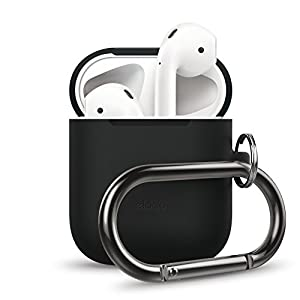 elago AirPods Hang Case [Black] – Compatible with Apple AirPods 1 & 2, Front LED Not Visible, Supports Wireless Charging, Extra Protection, Added Carabiner, for AirPods 1 & 2