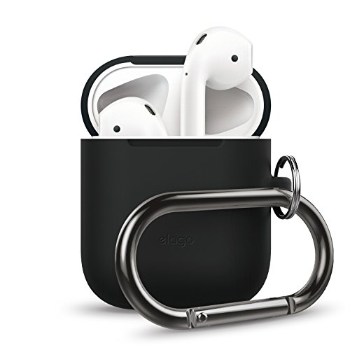 elago AirPods Hang Case [Black] – [Extra Protection] [Added Carabiner] – for AirPods Case