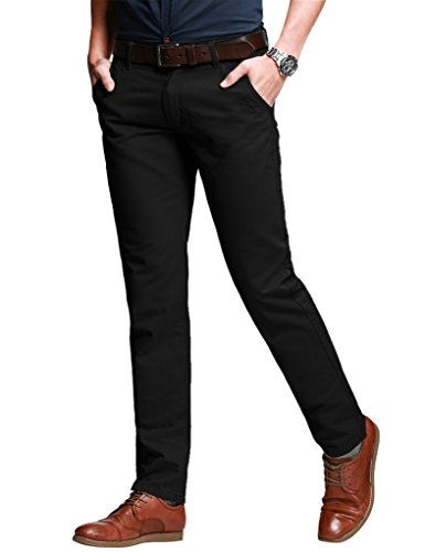 Match Men's Slim Fit Tapered Stretchy Casual Pants (32W x 31L, 8050 Black) (Black Men Pants)