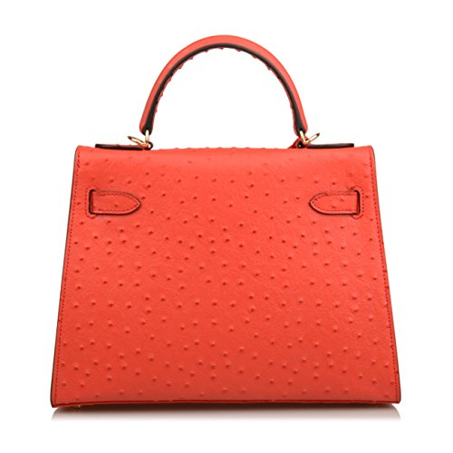 Hobo Purse Red Genuine Women's Shoulder Embossed Bag Handbag Leather Ostrich Padlock Ainifeel qzxREgAR