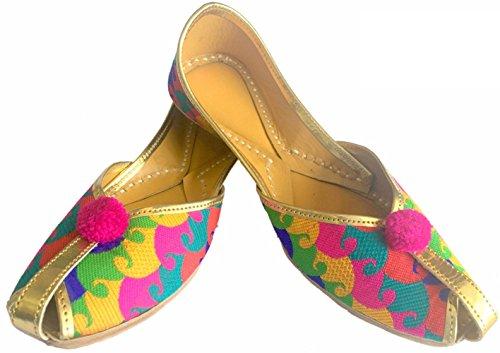 Step N Style Women Flat Indian Traditional Handmade Designer Ballerina Piatta Khussa Scarpe Jutti