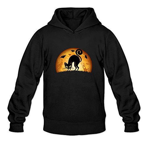 JUST Women's Costumes Happy Halloween Cute Black Cat Hoodie Black