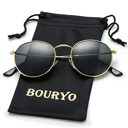 BOURYO Classic Polarized Small Round Sunglasses for Women And Man Metal Frame Mirrored Lens Sun ()