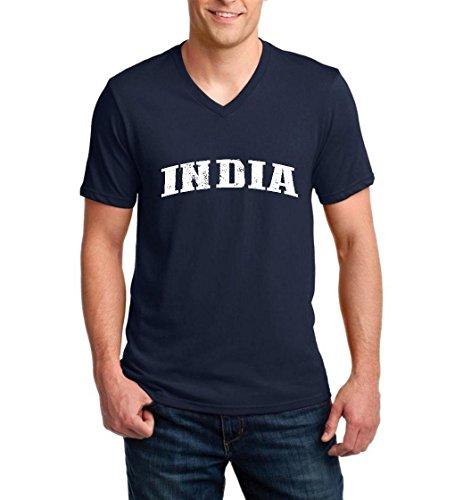 Ugo What To Do in India Travel Deals Goa New Delhi Map Flag Ringspun Men V-Neck T-Shirt