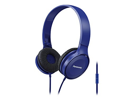 Panasonic On Ear Stereo Headphones RP-HF100M-A with Integrated Mic and Controller, Travel-Fold...