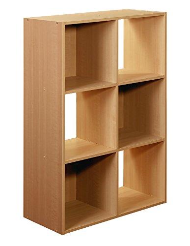 6-Cube Organizer, Maple - Maple Stackable Storage Organizer