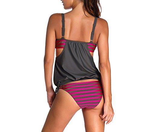 3913 donna store Grigio XL righe XL a alla con tinta MEDIA unita WAVE dalla Costume S canotta TANKINI da E5nXqF