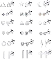 18 Pairs Tiny Cartilage Stud Earrings Set for Women Men Star Triangle Moon Heart Disc Ball CZ Small Screwback