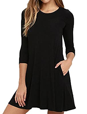 SVALIY Women Crew Neck 3 4 Sleeve Casual Loose T-shirt Swing Dress with Pockets