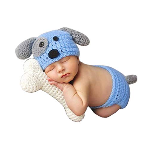 SUNBABY Newborn Photography Props Baby Knitting Wool Material Photography Costume Cute Animal Style Baby Crochet Clothes (Blue Dog) -