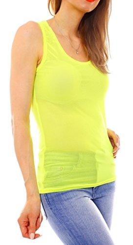 Easy Young Fashion - Camiseta sin mangas - Básico - para mujer amarillo