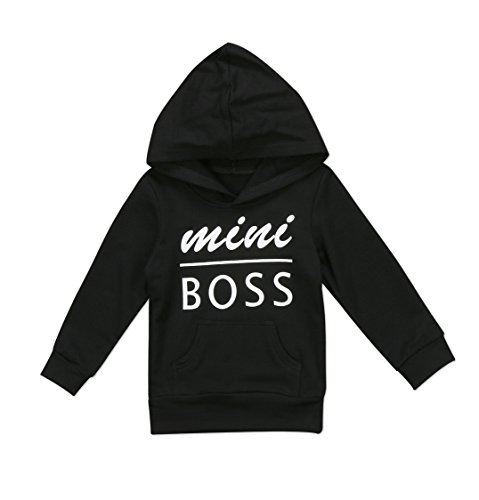 0-5T Baby Boy Girl Mini Boss Hoodie Tops Toddler Hooded Sweater Casual Hoodies with Pocket Outdoor Outfit (4-5 Years, Black)