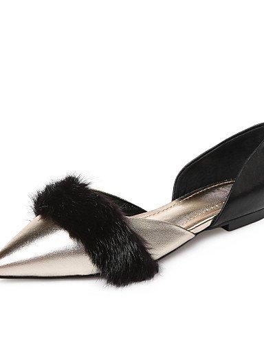 Femme Talon fantaisie us8Eu39 Confort Uk6 Appartements chaussures Cuir Plat Pdx décontracté Black Cn39 Robe Noir rose rdCQxBWEoe