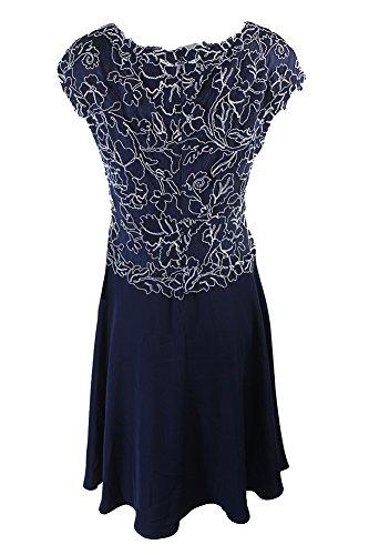 Tadashi Shoji Navy Cap-Sleeve Embroidered Lace Dress