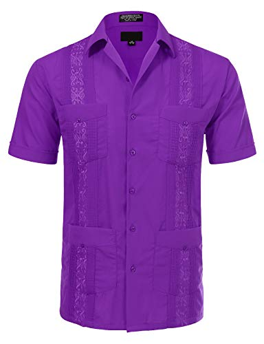 JD Apparel Men's Short Sleeve Cuban Guayabera Shirts19-19.5N 3XL Purple