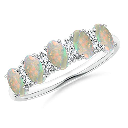 - Five Stone Opal and Diamond Wedding Band in Platinum (5x3mm Opal)