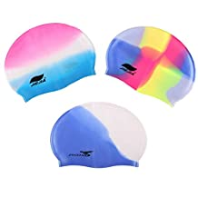 3 Packs Fashionable Style Silicone Swimming Cap Swimming Hat for Women and Men, Matured Kids, Younger Kids, Boys and Girls