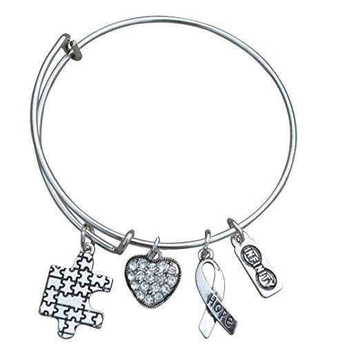 Autism Bangle Bracelet, Autism Awareness Jewelry, Autism Puzzle Piece, Hope Charm Bracelet ()